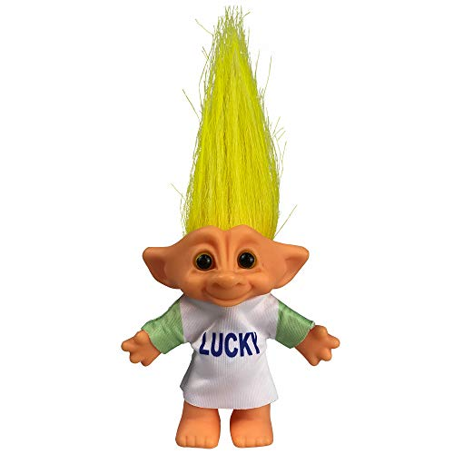 """Yintlilocn Lucky Troll Dolls,Vintage Troll Dolls Chromatic Adorable for Collections, School Project, Arts and Crafts, Party Favors - 7.5"""" Tall Yellow Hair (Include The Length of Hair)"""