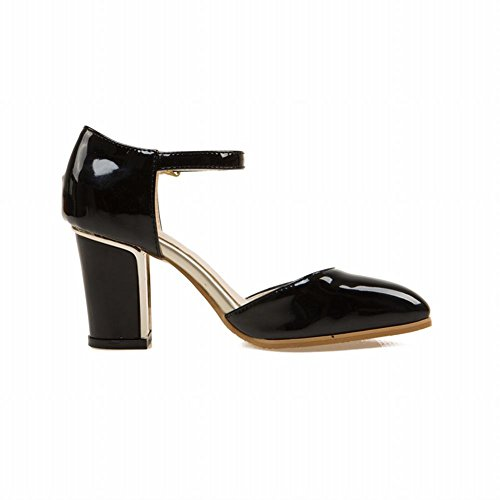 Draagstijl Mode Dames Elegantie Enkelbandje Dans Feestjurk Gesp Dikke Hoge Hak Sandalen Zwart