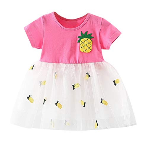 Womola 2PCS Fashion Toddler Kids Baby Girl Clothes Outfit Short Sleeve Pineapple Print Tulle Skirt Princess Dress ()