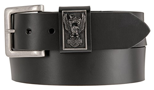 Harley-Davidson Mens Eagle Rider Genuine Leather Belt, Black HDMBT11207-BLK (38) (Medallion Belt Black)