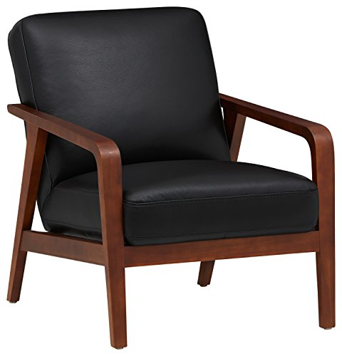 (Rivet Huxley Leather Mid-Century Accent Chair, Black Leather)