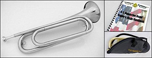 U.S. Regulation Bugle - Nickel Silver w/Mouthpiece, Bag, and Book by U.S. Regulation Bugle
