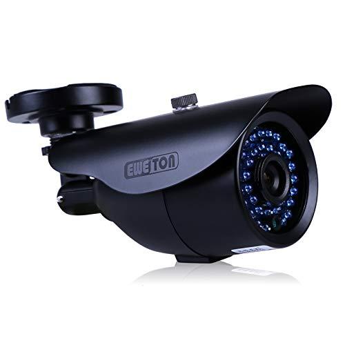 EWETON 1/3″ 960H 1000TVL CCTV Home Surveillance Camera 3.6mm Lens 36PCS Infrared LEDs IR Cut 100ft Night Vision Indoor Outdoor Weatherproof Security Camera (Metal Housing Black)