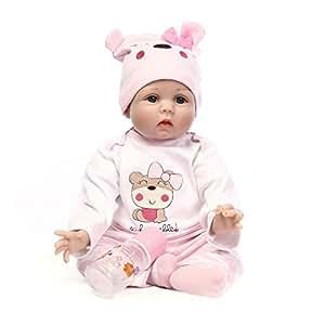 Nicery Reborn Baby Doll Renacer Bebé la Muñeca Vinilo Simulación Silicona Suave 22 Pulgadas 55cm Boca Magnética Natural Niña Niño Juguete vívido para 3 años + Pink Bear Lucy