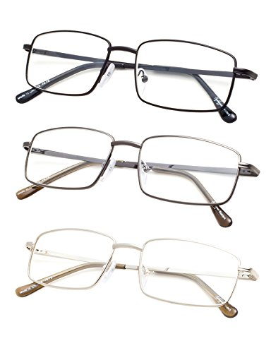 3-pack Large Rectangular Reading Glasses with Spring Temple for Men