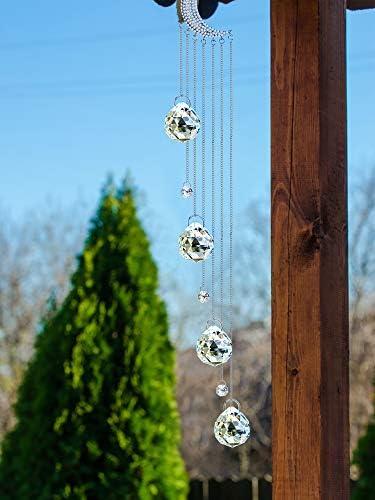 Crystal Window Hanging Ornament Crystal Ball Prism Suncatcher Crystal Pendant Crescent Ornament Glass Pendant Hanging Ornament for Home Garden Decoration