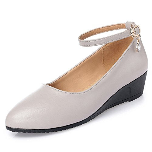 Loafer On Slip Grey Buckle Shoes Work Leather Womens Genuine AvfqB