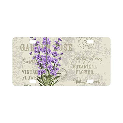 Aoxiananclicensecover Elegant Postcard Lavender Flowers Vintage Floral License Plate for Women/Men, Aluminum Metal Sign Decor Car Tag for US Vehicles 12 x 6 Inch 4 Holes