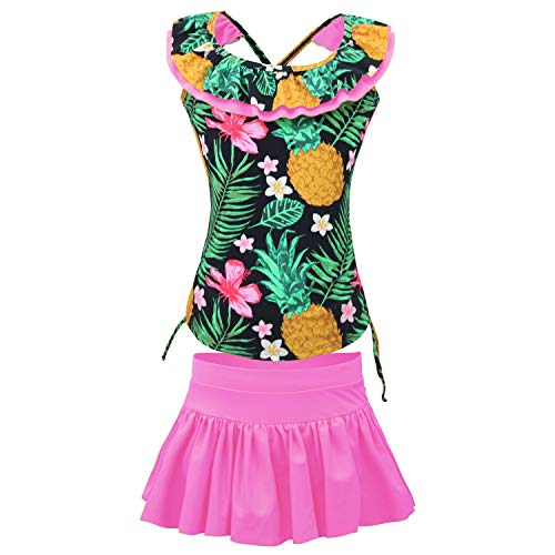 qyqkfly Girls' Adjustable 4Y-15Y Two Piece Pineapple Double Hawaiian Ruffle Swimwear with Pants Bathing Suit(FBA) (A-Pink, XL(14):12-14y)