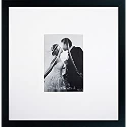 14x14 Black Gallery Picture Frame with 5x7 Mat - Great Gift - Mat for Wedding and Celebration Signatures - Includes Attached Hanging Hardware and Desktop Easel - Display Pictures 5 x 7 or 14 x 14