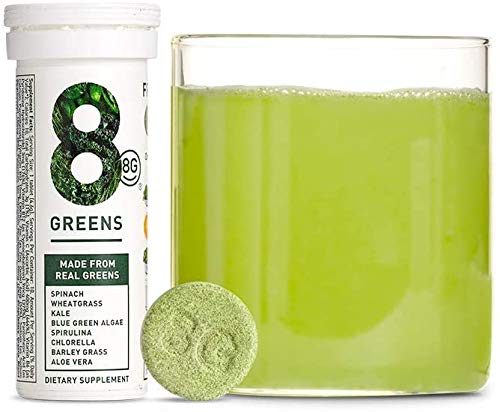 8Greens Effervescent Super Greens Dietary Supplement – 8 Essential Healthy Real Greens in One (1 Tube / 10 Tablets)