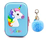 Cute Unicorn Pencil Case Unique Unicorn Design Pen Holder Box for Students Kids Teens Girls (Blue)