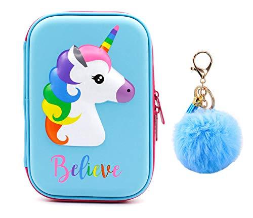 Cute Unicorn Pencil Case Unique Unicorn Design Pen Holder Box for Students Kids Teens Girls (Blue) by Cuppqq
