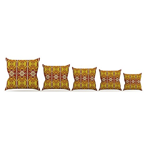 26 by 26 Kess InHouse Mydeas Butterfly Dog Damask Yellow Red Throw Pillow