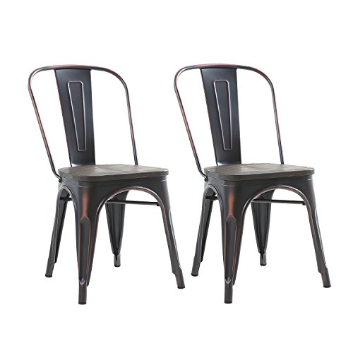 Buschman Set of Two Distressed Black Wooden Seat Tolix-Style Metal Indoor/Outdoor Stackable Chairs with Back