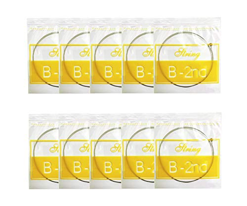 Acoustic Guitar B Strings, Light Tension - Corrosion-Resistant Rust-Prevent Brass, Offers a Bright and Well-Balanced Acoustic Tone B 2nd 10 Pack