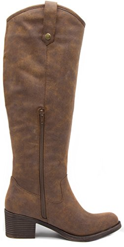Italie Brown Knee Rampage Women's Boot Tumbled Dark Riding High 5wPPvZpq0x