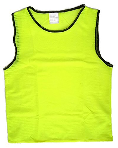 Pinnies Youth (Youth Scrimmage Vests, Youth Team Practice Pinnies, Youth Scrimmage Jerseys, Youth Scrimmage Training Vests For All Sports, by Playscene (12 Pack) (YOUTH, NEON YELLOW))