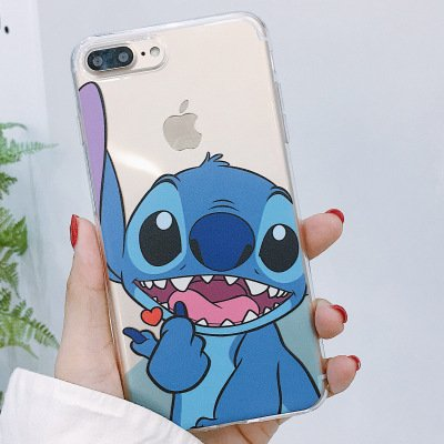 online retailer 9eab6 897a8 Amazon.com: Soft TPU Clear Blue Stitch Case for iPhone 7+ 7Plus 8+ ...