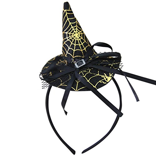 2017 Halloween Women Girls Spider Ghost Witch Hat Headband Cap Headwear Party Props Accessory (C)