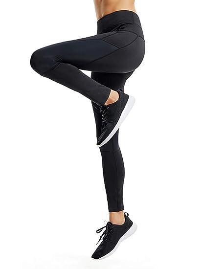 13a045ebce Women's Mesh Leather Panel Side High Waist Leggings Skinny Workout Yoga  Pants H18613 Black M