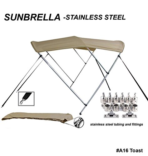 TOP of The LINE Stainless Steel-Sunbrella 9.25oz 3 Bow Round Tube Boat Bimini Top-Sun Shade 54
