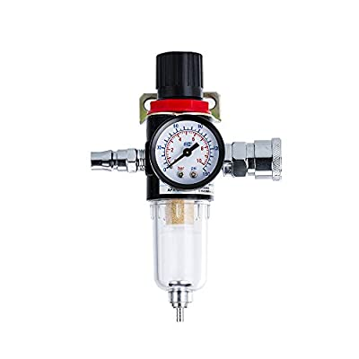 """Air Hose Water Filter 1/4"""" BSP Air Hose Filter Air Compressor Water Trap Pressure gauge Water Trap FMT3010 for Compressor and Air Tools"""