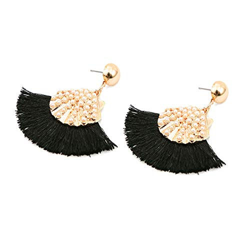 Women Vintage Earring Bohemian Tassel Shell Pearl Handmade Fringe Statement Dangle Stud Earrings for Girls Ladies (Black)]()