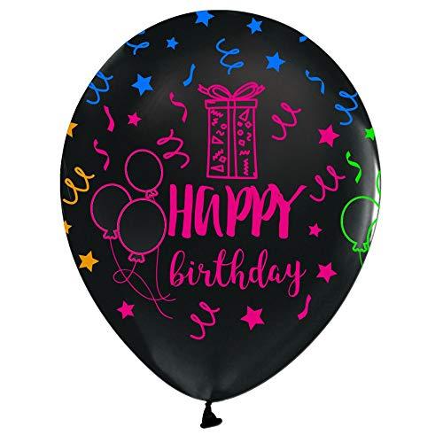 12 pieces latex balloons Happy Birthday NEON Assortment, 12