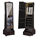 SONGMICS LED Jewelry Cabinet Lockable Jewelry Armoire with Full Length Mirror, Makeup Tray and Large Drawer Base Brown Patented Mother's Day Gift UJJC87BR