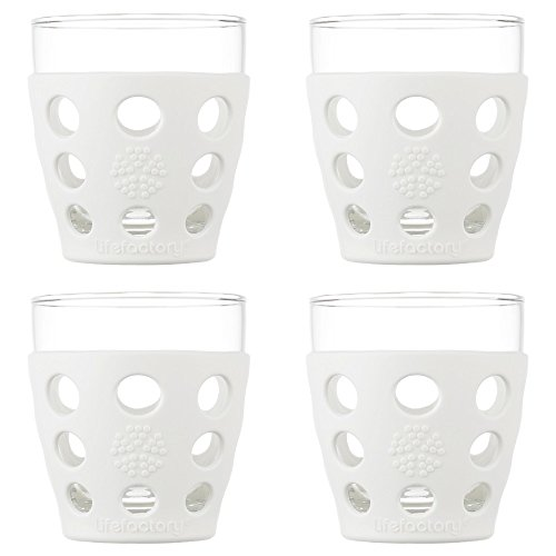 Lifefactory 10-Ounce BPA-Free Indoor and Outdoor Glassware 4-Pack with Protective Silicone Sleeve, Optic ()
