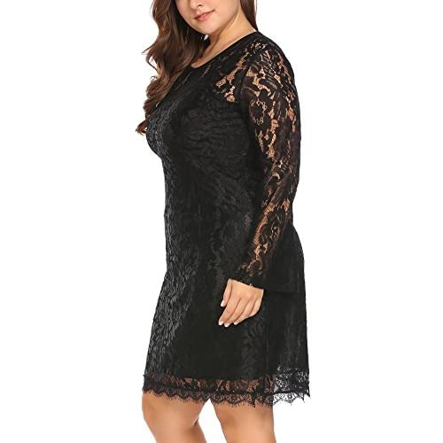 0fc3bafc9f3 Vpicuo Women s Plus Size Elegant Flare Long Sleeve Lace Bodycon Cocktail  Party Dresses 50%OFF