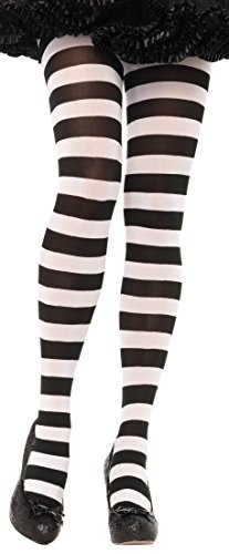 ToBeInStyle Women's Wide Horizontal Striped Opaque Tights - Blk/Wht - One Size