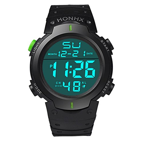 Price comparison product image Leegor Waterproof Military Digital LCD Light Stopwatch Date Rubber Sport Electronic Wrist Watch (Green)