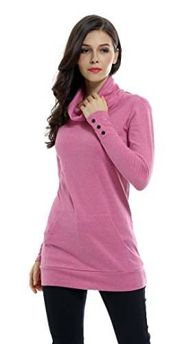 Sofishie Casual Cowl Neck with Sleeve Buttons Pullover Top - Pink - ()