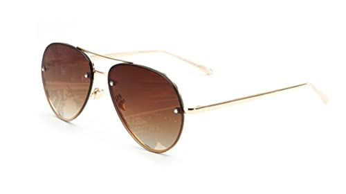 4dc0f3f155 GAMT Vintage Rimless Aviator Sunglasses Mirrored Clear Lens Designer for  Women Brown