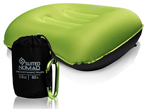 Travel Inflatable Pillow for Camping and Hiking   Lightweight & Compressible Backpacking  Gear for Men & Women   Ergonomic Design for Neck & Lumbar Support   B0NUS Carabiner + Carry Bag