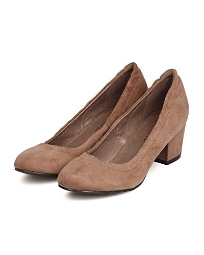 Breckelles FH43 Women Faux Suede Almond Toe Chunky Heel Pump Taupe a553Km3ZTL