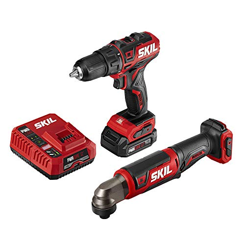 SKIL 2-Tool Combo Kit: PWRCore 12 Brushless 12V 1/2 Inch Cordless Drill Driver and 1/4 Inch Hex Right Angle Impact Driver, with 2.0Ah Lithium Battery and PWRJump Charger – CB743001