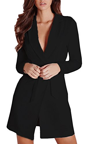 YouBens+Women+Elegant+Lapel+Plunge+Neck+Belt+Jacket+Blazers+Mini+Dress+Long+Suiting+Coat