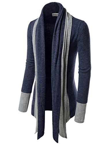 TheLees (NKCD94) Open Front Double Shawl Collar Cardigan Sweaters NAVY US XS(Tag size XS)