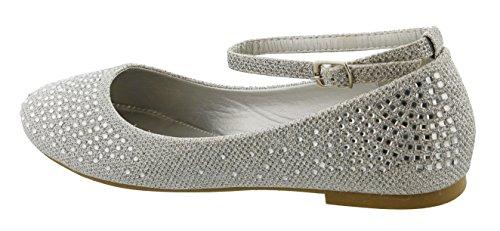 Top Moda Donna Chiusura A Punta Rotonda Alla Caviglia Strappy Glitter Dress Balletto Argento Piatto