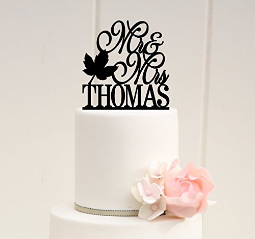 Mr and Mrs Fall Leaf Wedding Cake Topper with YOUR Last Name 0171