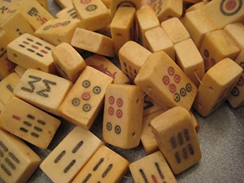 Camel Bone Mahjong Tiles Beads Double Side Drilled 7pcs #ID-3610