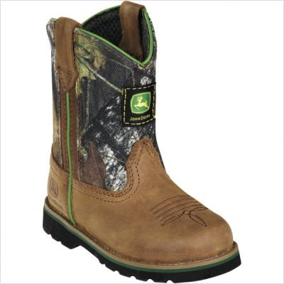 John Deere Toddler-Boys' Camo Johnny Popper Boot Roper Brown 4 D(M) US by John Deere