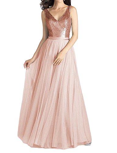 LanierWedding Long A-Line V-Neck Chiffon Sequined Bridesmaid Dresses Black Prom Dresses for Women ()