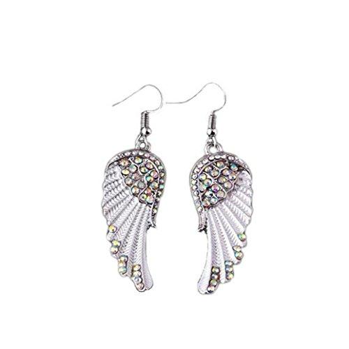Hemlock Diamond Pendants Earings, Women Jewelry Silver Ear Stud Earrings Eardrop Ear Clip (White Wings) -  Hem001