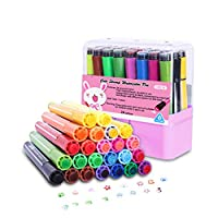 Hapree 24 Colors Kids Washable Markers with Stamper Non-Toxic Coloring Marker Stamp Pen Fine Tip