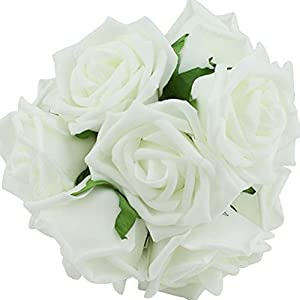Yonger 10 pcs Artificial Silk Latex Rose Flowers Decoration Bridal Wedding Bouquets with Pole White 48