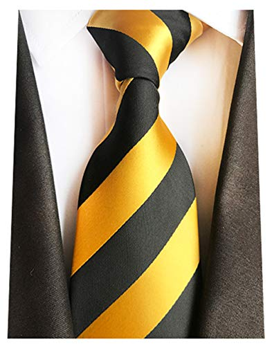 - MENDENG New Mens Stripe Paisley 100% Silk Necktie Classic Striped Formal Ties (One Size, Gold and Black)